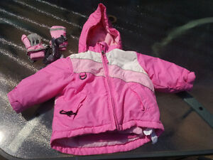 Almost new 2 in 1 Winter Jacket with Mittens. Size: 18-24 months