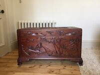 Beautiful Chinese Antique Carved Camphor Wood Chest in excellent condition