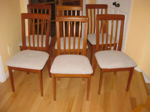 6 MCM Nordic Solid Teak Chairs, New Upholstery, 9.5' Teak Table