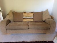 Beige/Golden Brown 3 seater sofa and armchair