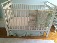 Solid wood cwhite crib, with Miji Spalsh bedroom set, mattress