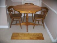 """1 – SINGLE PEDESTAL OVAL TABLE + 3 CAPTAIN'S """"PUB"""" STYLE CHAIRS"""