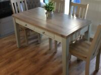 Oak dining table/desk with drawers