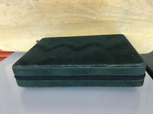 Vintage Zippered Green 14 inch, Portable, Travel Size, Backgammo