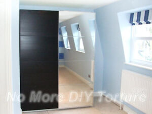 Pair of pax SLIDING DOORS ONLY - 1 mirrored and 1 black-brown