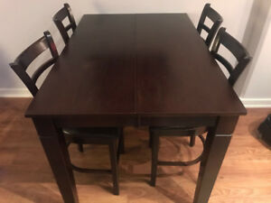 High Top Bar Table with 8 Chairs and Leaf