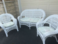White Wicker Set with Cushions
