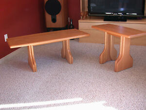 Solid oak occasional coffee and end tables
