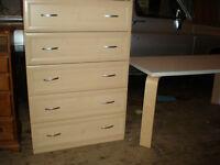 light colored veneer 5 drawer dresser