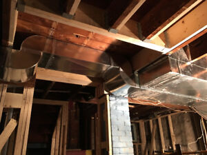 Furnace and duct relocation, new heat runs for renovations