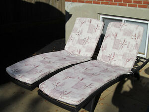 Pair of Black Outdoor Lounge Chairs with Pads - $100.00