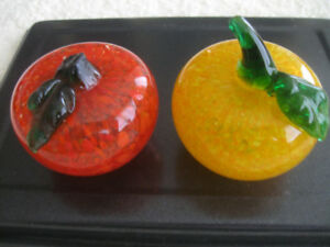 TWO HEAVY VINTAGE COLOURFUL GLASS PAPER-WEIGHTS