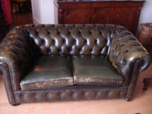 Chesterfield Tufted Style Leather Sofa 2 seats.
