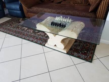 Nick Scali Fossil rectangular glass coffee table