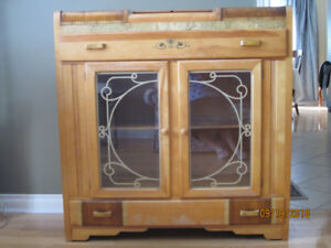 China cabinet with cutlery storage, solid wood - priced to sell