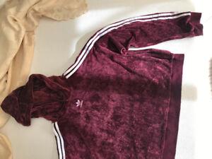 Adidas Velour Hoodie Burgundy