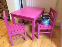 Childrens' wooden table and chairs
