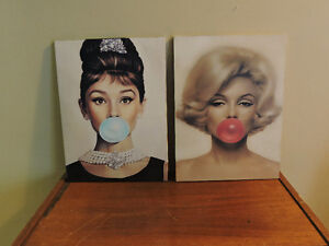 Modern pictures Marilyn Monroe and Audrey Hepburn Bubble Gum