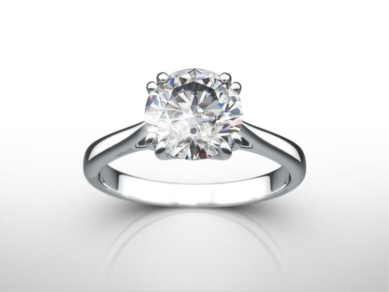 3 Carat Round D Si1 Enhanced Diamond Solitaire Engagement Ring 18k White Gold