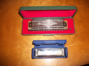 2 Vintage HOHNER Made in Germany Harmonicas w/Cases