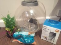 Biorb 30L fish tank with light, 2x service kits, ring plant, stones and water purifier