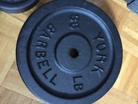 York 35lb and 10lb weights and Bar