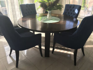 """60"""" Round Wood Table with frosted Glass Lazy Susan"""
