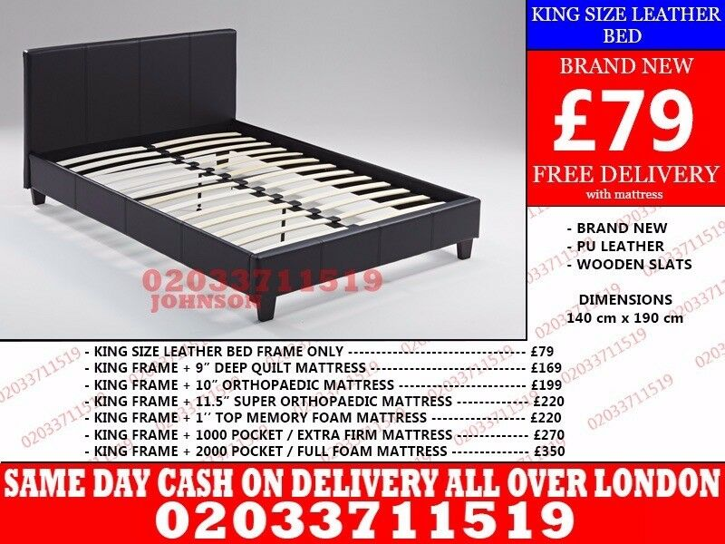 Brand New King Size Leather BedRobertsvillein Lambeth, London - wow today 50%off For Placing An Order Please Call