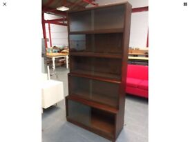 Original Stacking Library Bookcase Mid Century 5 Waterfall Glazed Sections