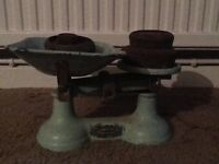 Vintage kitchen scales with weights