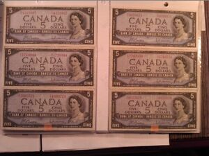 1954 $5 Canadian dollar bills (bank of Canada) paper money
