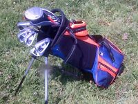 "USA Kids GOLF SET of 7 clubs (Orange 51"" size) & STAND/CARRY BAG,COVER + extra useful HYBRID club"