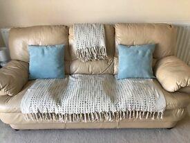 3 seater & 2 seater cream leather sofas