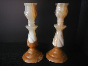 "Onyx Candlestick Holders (2) 7.5"" Tall"