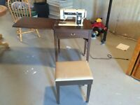 Sewing machine / table and storage stool. $40