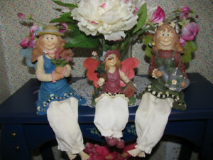 Fairy Figurine Shelf Sitter Sparkly Metal Wings 3 Lot Mixed Cute
