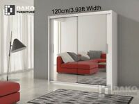 LIMITED OFFER = WHITE BERLIN 2 DOOR SLIDING #WARDROBE WITH FULL MIRROR -EXPRESS DELIVERY