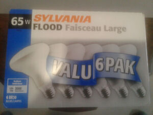 6 Sylvania 65 watt floodlights
