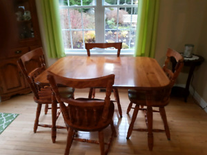 Dining room table and corner cabinet