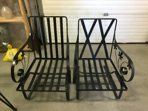 Pair of Antique Outdoor Iron Lounge Chairs