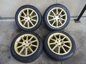JDM 05-07 Subaru WRX STI EJ207 V9 OEM Gold Wheels, Rims, 5X114.3