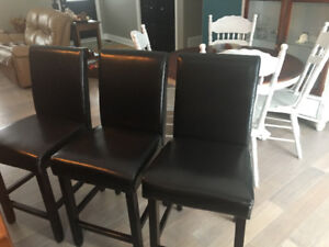 Leather counter height high back chairs