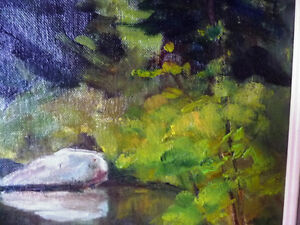 """Original Oil Painting by Blanche Ducharme """"Peaceful Pond"""" 1960's Stratford Kitchener Area image 9"""