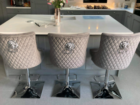 4 grey velvet lion head gaslight stools