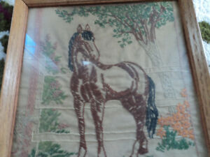 Super Old Needlepoint Picture of Horse