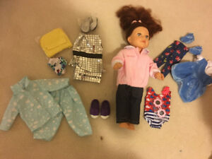 beautiful  NEWBERRY doll with outfits-red hair, blue eyes