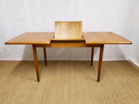 Vintage mid century teak extending dining table by Meredew