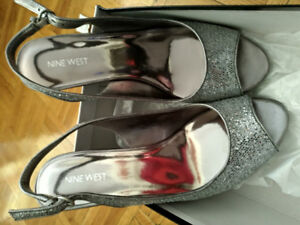 Nine West high heels slip on silver in color glitter