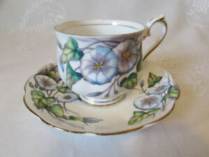 Vintage ROYAL ALBERT Flower of the Month Morning Glory Cup/Sauce
