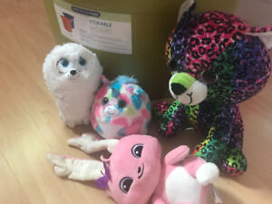Storage bins with lot of toys incl ponies, beanies, plush, etc.